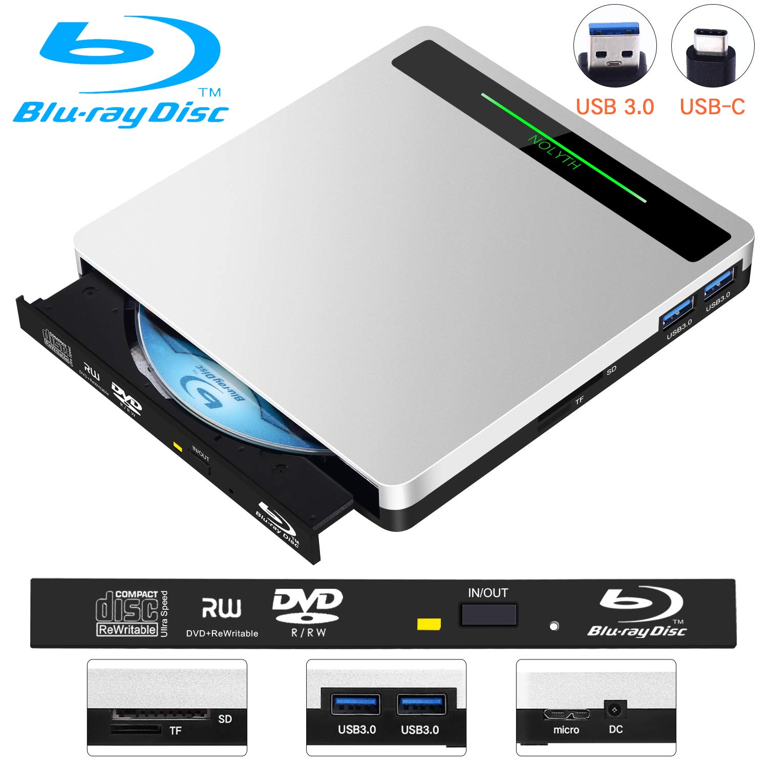5-in-1 External Blu-ray Drive Player NOLYTH USB 3.0//USB C External Bluray Drive Burner for Laptop//MacBook//Windows10//PC Supports SD Card//TF Card//2 USB3.0 Transfer and Charging