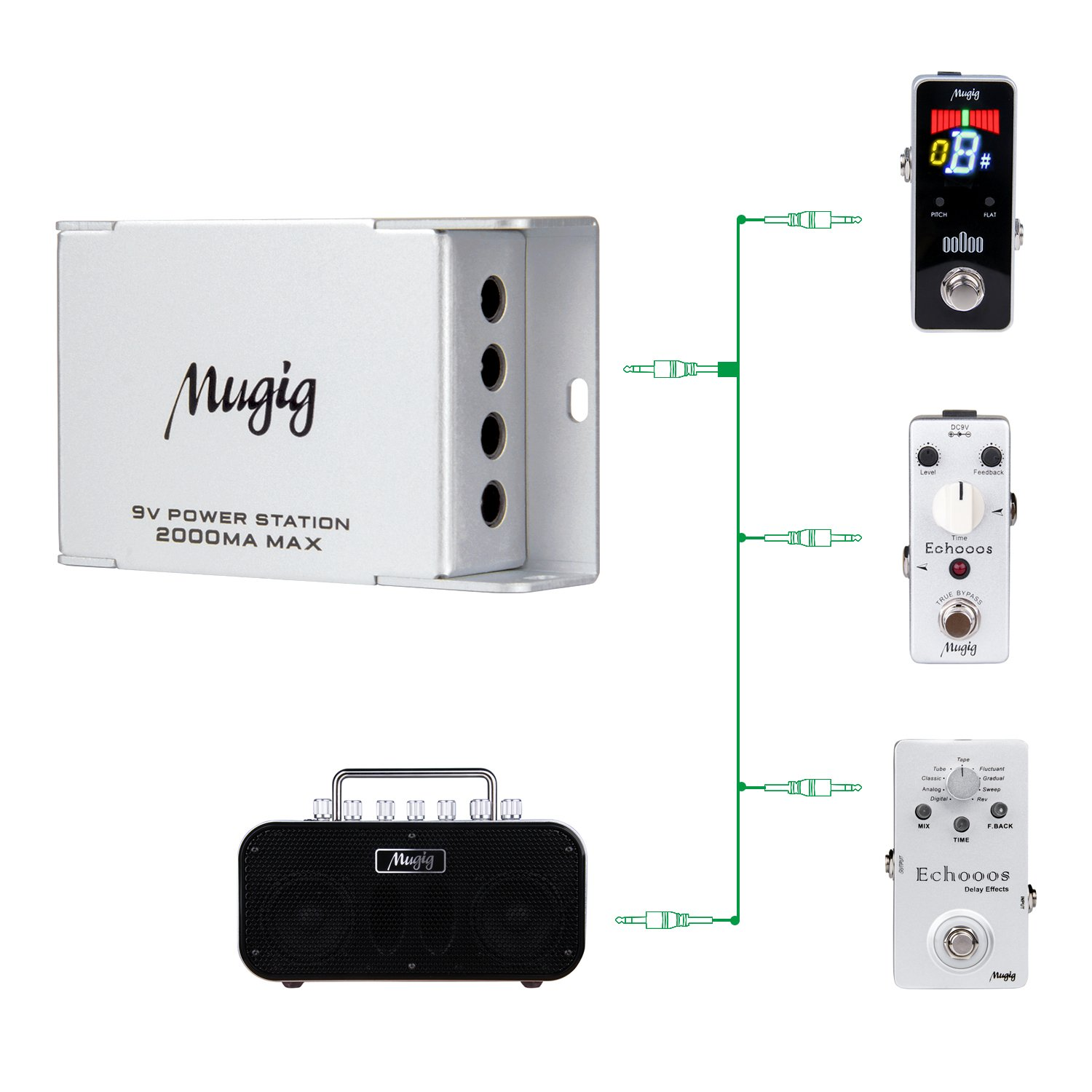 Mugig Pedal Power Supply for Guitar Effect Pedals Multifunctional Power Conditioner with 4 Regulated Outputs Power Station with Adapter and USB lines