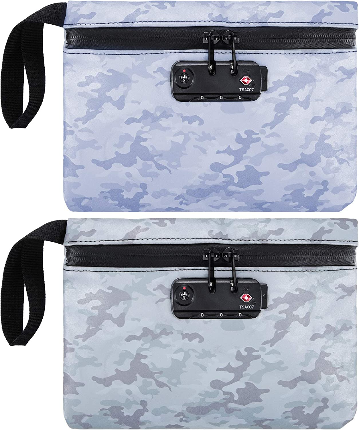 2 Pieces Smell Proof Bag with Combination Lock, Smell Proof Multi Purpose Lock Bag or Smell Proof Pouch Easy Access to Keys, Coins, Cell Phone When Travel and Driving