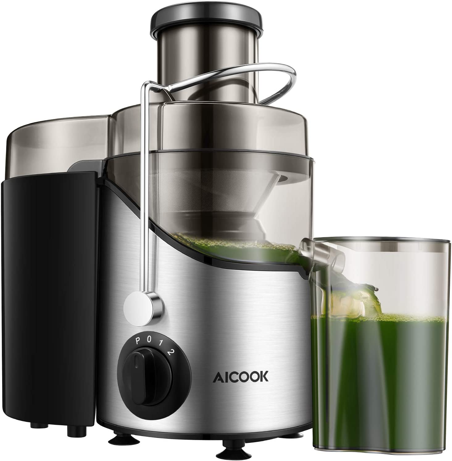Juicer, Juice Extractor, Aicook Juicer Machine with 3'' Wide Mouth, 3 Speed Centrifugal Juicer for Fruits and Vegs, with Non-Slip Feet, BPA-Free