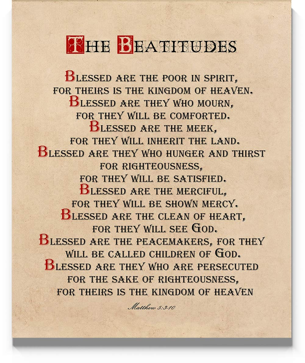 Beatitudes Wall Art Print, 11x14, Matthew 5 Sermon on the Mount Bible Quote, Un Framed Scripture Wall Décor, Christian Wall Art for Home or Office Decore, Inspirational Verse for Spiritual or Mentor