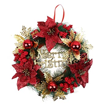 christmas wreath large front door red wreath ornaments for christmas outdoor hanging decorative garland multicolor - Large Outdoor Christmas Wreath