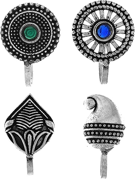 Anuradha Art Silver Finish Round Shape Multi Colour Press On Combo Pack Nose Ring//Nose Stud//Pin For Women//Girls