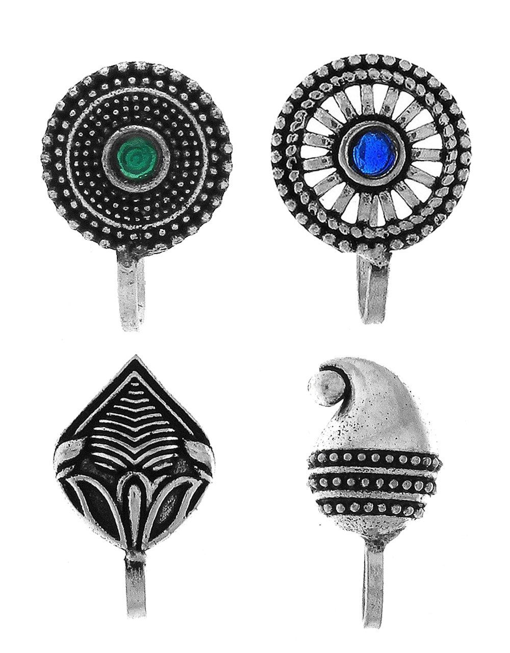 Anuradha Art Silver Oxidised Finish Designer Multi Colour Press On Combo Pack Nose Ring/Nose Stud/Pin For Women/Girls
