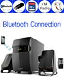 Boytone BT-3685F, Wireless Bluetooth 2.1 Multimedia Powerful Bass System with FM Radio, Remote Control, Aux Port, USB/SD Slot /MMC Audio for Phones, Tablets, Music and Movies.