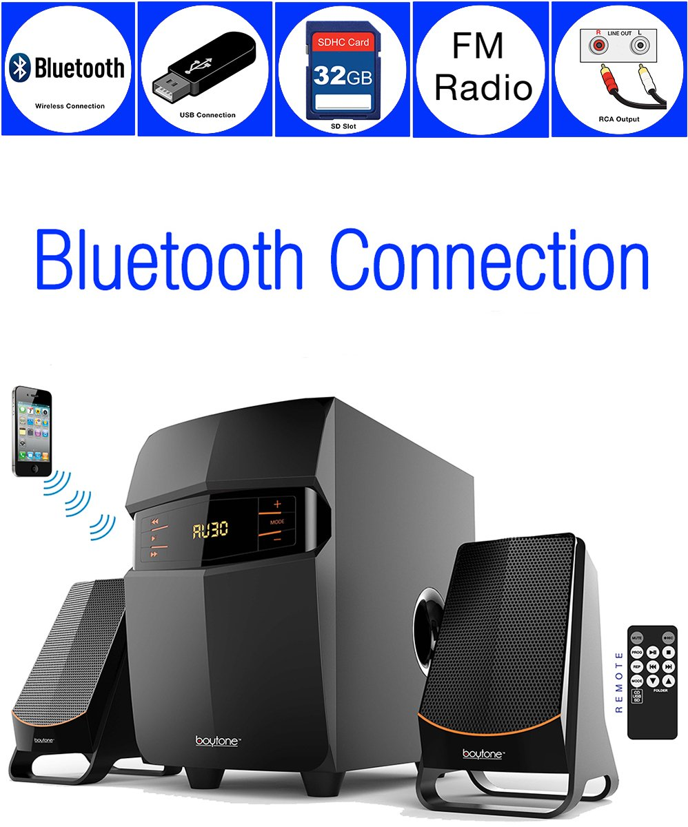 Boytone BT-3685F, Wireless Bluetooth 2.1 Multimedia Powerful Bass System with FM Radio, Remote Control, Aux Port, USB /SD Slot/MMC Audio for Phones, Tablets, Music and Movies., black