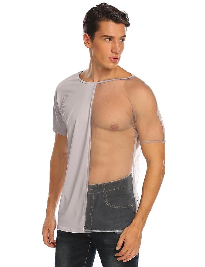 Modfine Herren T-Shirt Transparent Mesh Clubwear Party Outfit Reizwäsche  Half See Through Shirt: Amazon.de: Bekleidung