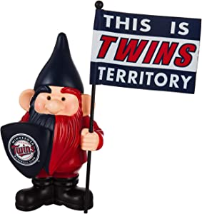 "Rico Industries, Inc. Twins 10"" Garden Gnome Flag Holder Outdoor Statue Decoration Baseball"