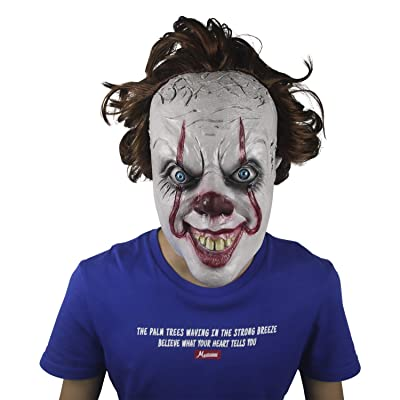 IT Mask Clown Mask Halloween Custome Decorations Cosplay Latex Mask White: Clothing