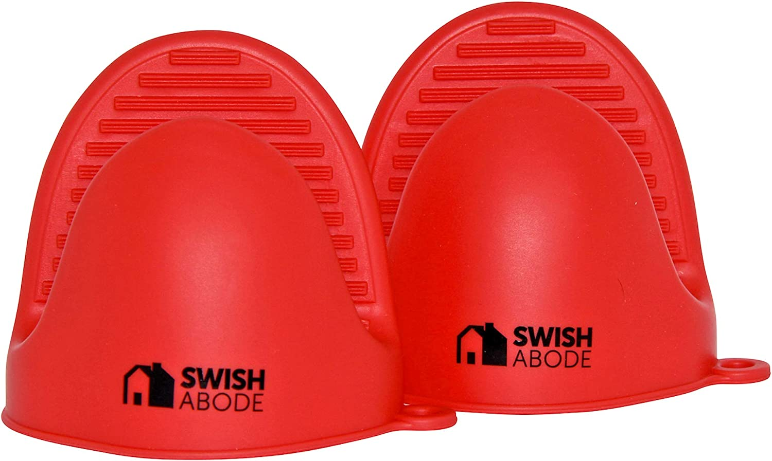 SWISH ABODE New Improved Red Mini Silicone Oven Mitts Set(2) for use with Instant Pot or Kitchen use as Potholder or Baking Holder Mini Oven mitt is Sold in a Pair and Holders are Also Pinch Mitts