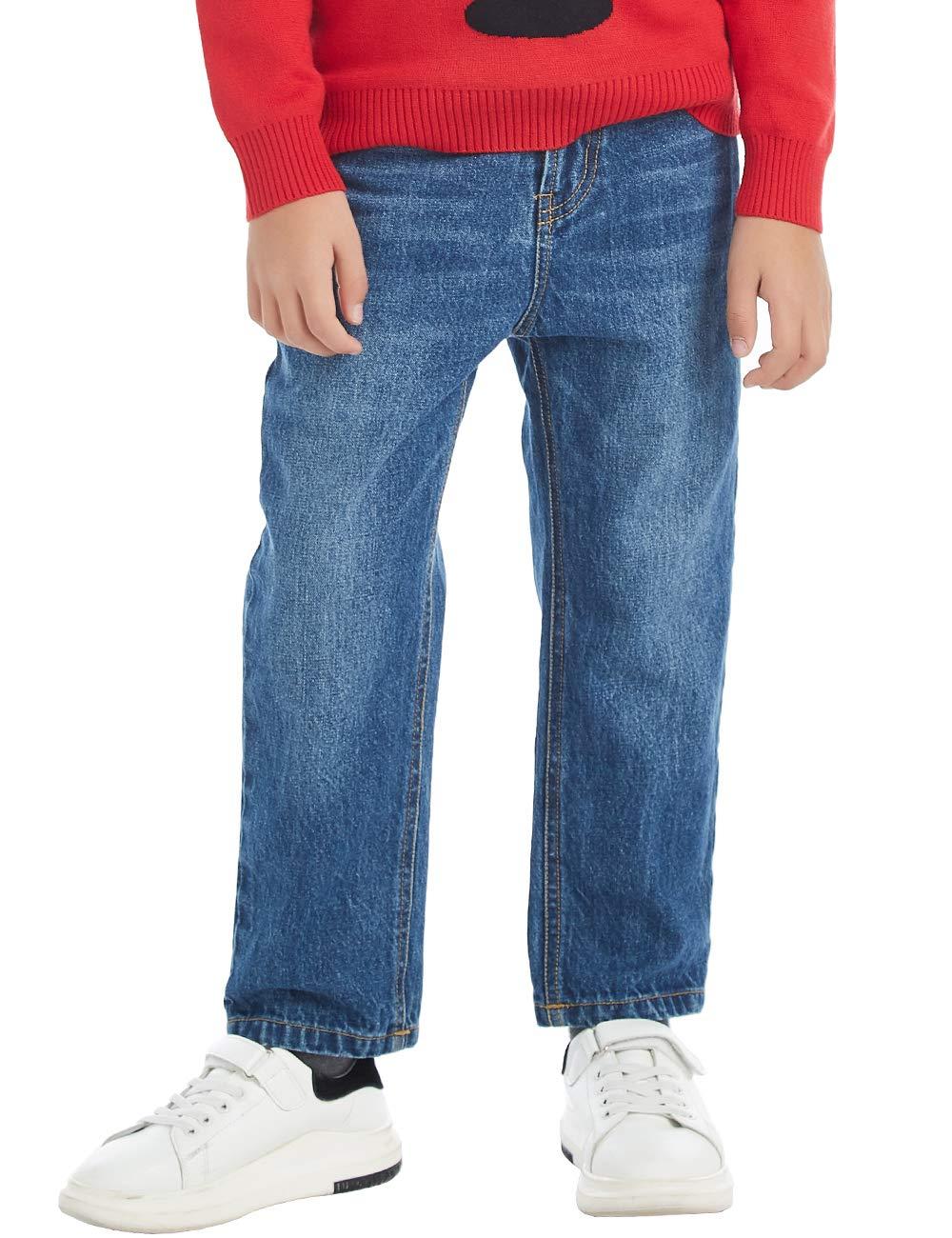 BYCR Jungen Elastischer Bund Jeans Baumwolle Jeanshosen Laufhosen Hosen für Kindern 4-18 Jahre
