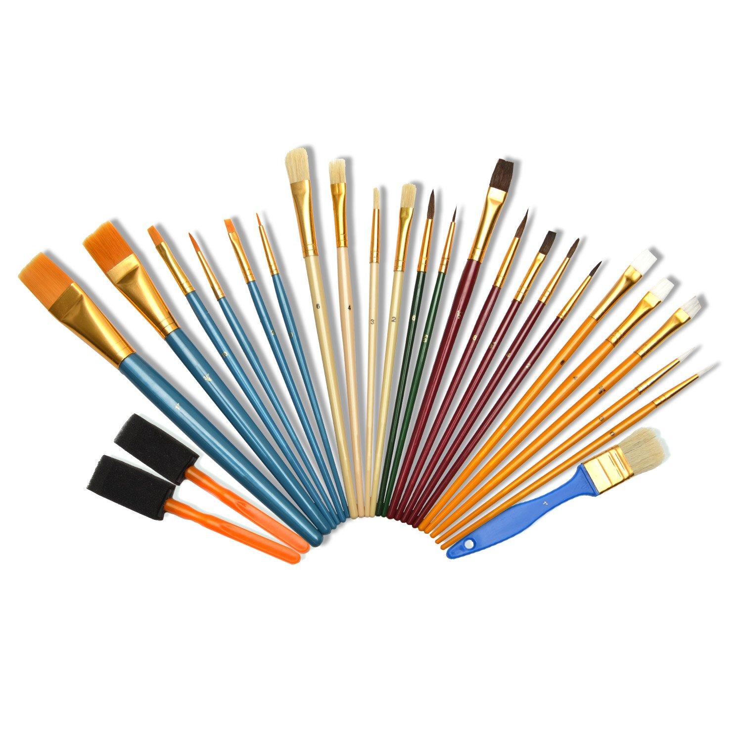 Artina 25 Piece Art Bristle Brush Set Various Brush Types & Sizes Ideal for Acrylic Watercolor & Oil Painting