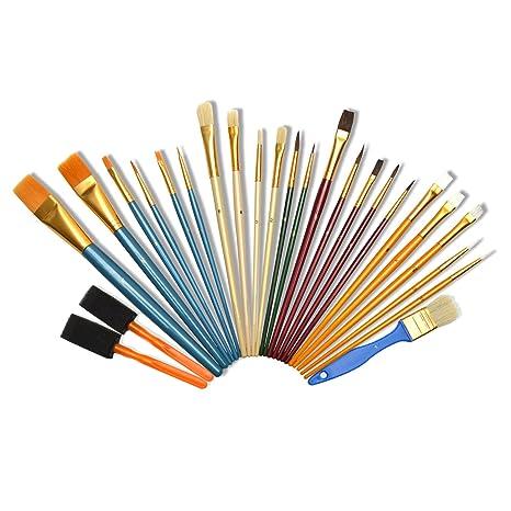 Artina Set de pinceles de 25 piezas - diversos tipos de pinceles de esponjas y cerdas