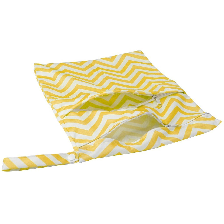 R Bolsa de panal de bebe TOOGOO Patron de ondulacion, amarillo + blanco Bolsa de panal de bebe de tela impermeable reutilizable y lavable con doble cremalleras