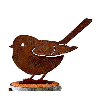 Elegant Garden Design Baby Fat Chickadee, Steel Silhouette with Rusty Patina : Outdoor Statues : Garden & Outdoor