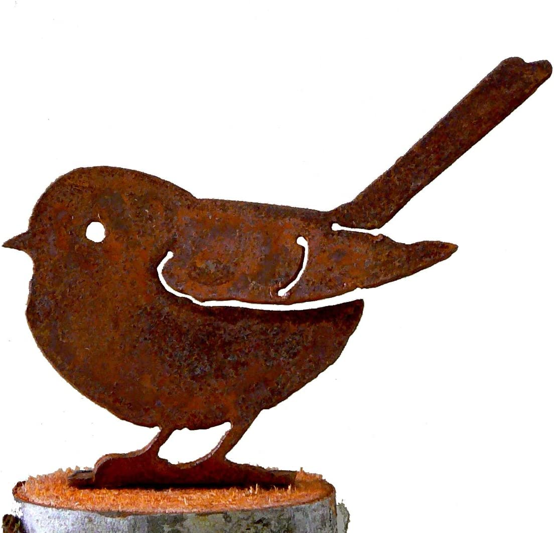Elegant Garden Design Baby Fat Chickadee, Steel Silhouette with Rusty Patina