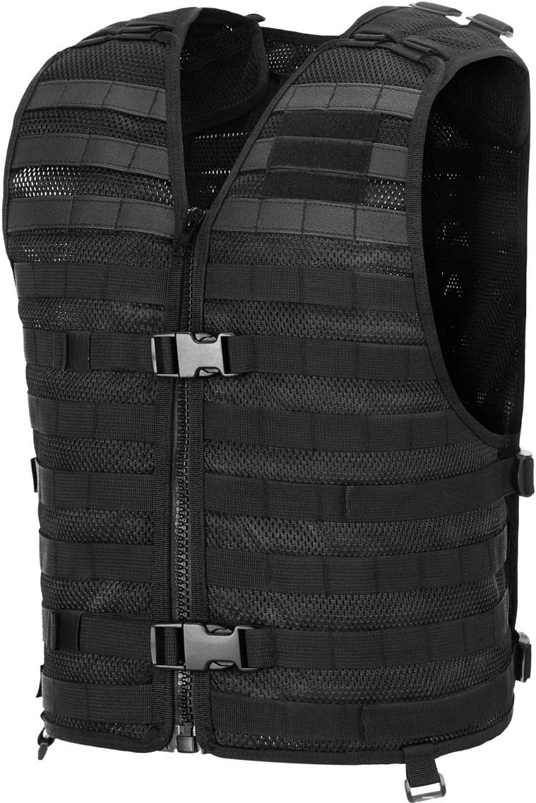 This is a photo of a black tactical vest with two buckles on front, heavy-duty zipper closure and MOLLE pouches.