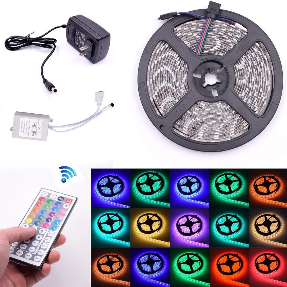 onEveryBaby 196.85'' / 500cm Plastic 300-LED SMD3528 24W RGB IR44 Light Strip Set with IR Remote Controller (White Lamp Plate) by onEveryBaby