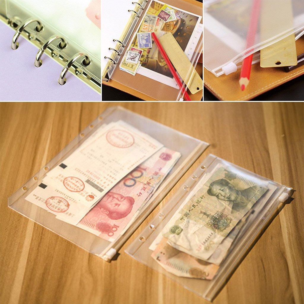 per ufficio Lotto di 10 buste forate con zip casa A7:8.5 /× 13.5cm trasparente scuola Lunji