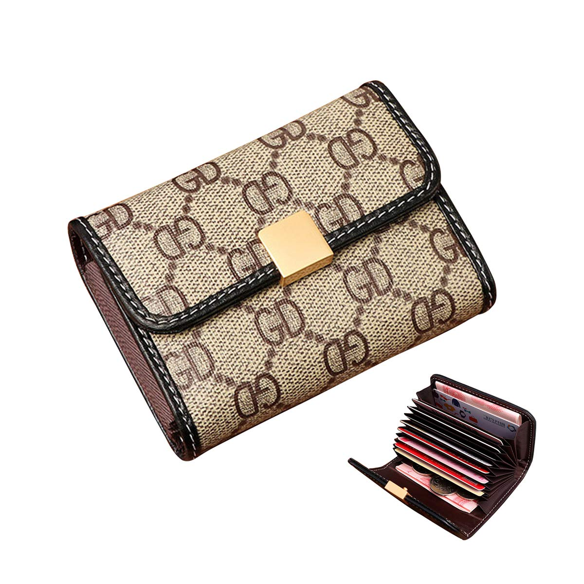 Women Designer Wallet Rfid Blocking Credit Card Holder Wallets Pu Leather Small Accordion Ladies Purse - Beige