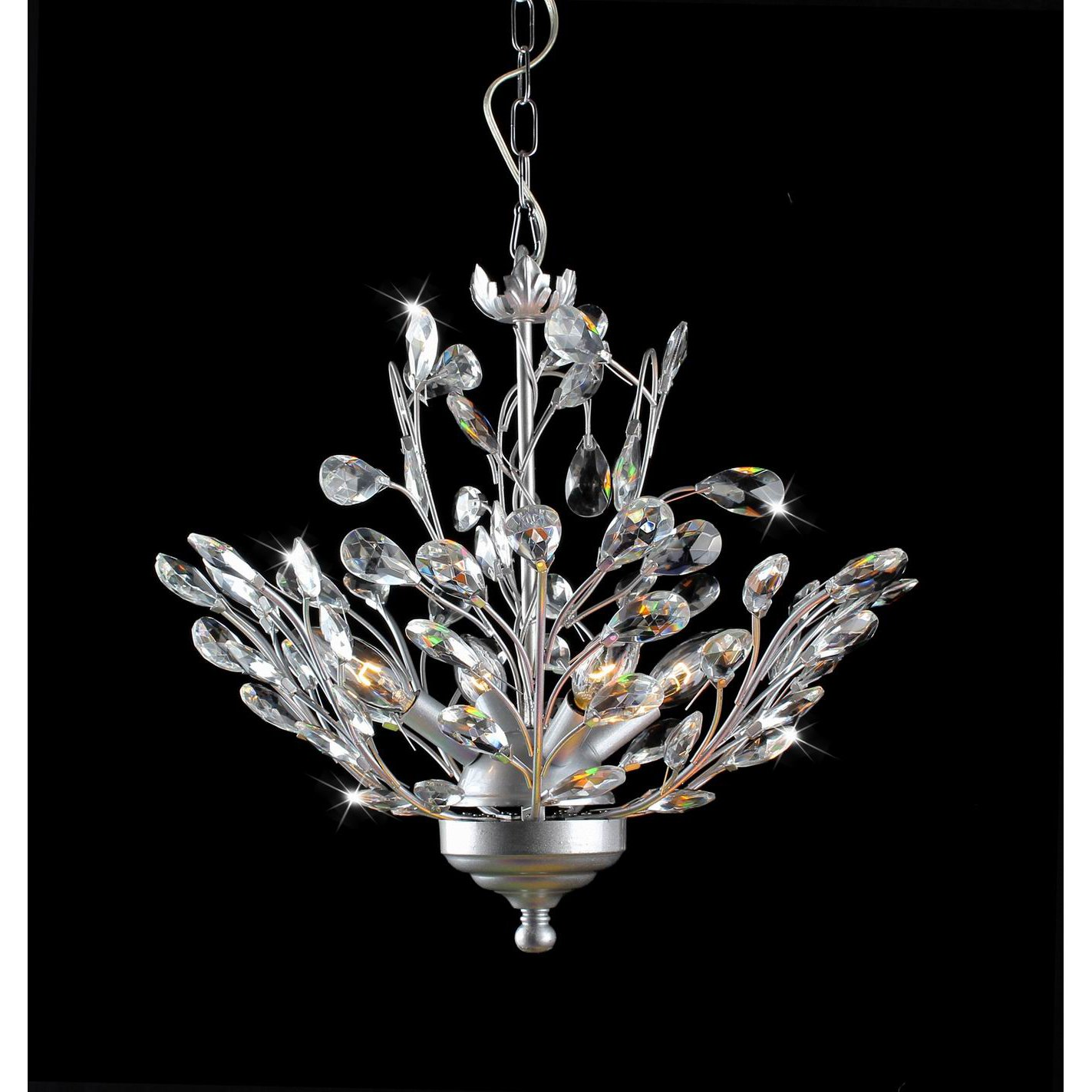 Holly 4 light Silver and Crystal Leaves Chandelier Chandelier