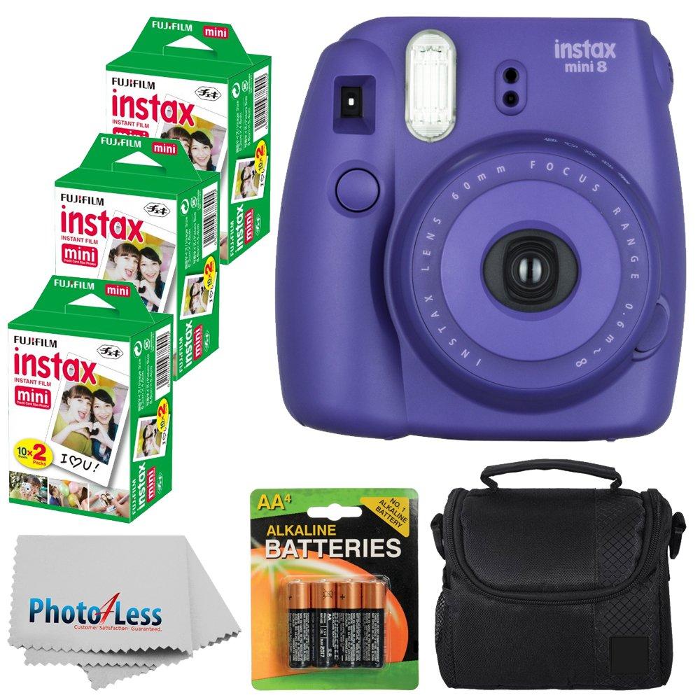 Fujifilm Instax Mini 8 Instant Film Camera (Grape) With Fujifilm Instax Mini 6 Pack Instant Film (60 Shots) + Compact Bag Case + Batteries Top Kit - International Version (No Warranty)