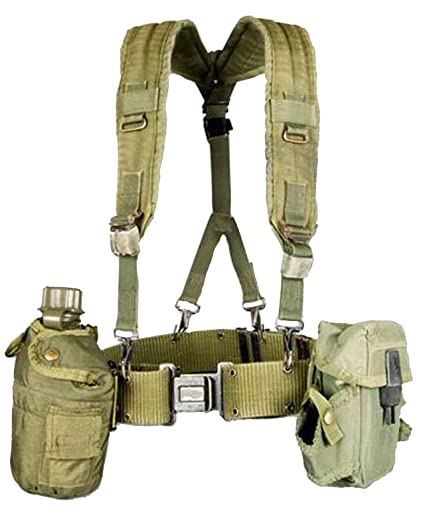 db59f8504b5e3 Military Outdoor Clothing Previously Issued US GI OD Green Canteen Set with  Suspenders