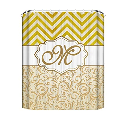 Monogram Shower Curtain Personalized Long 72x72 Chevron Damask