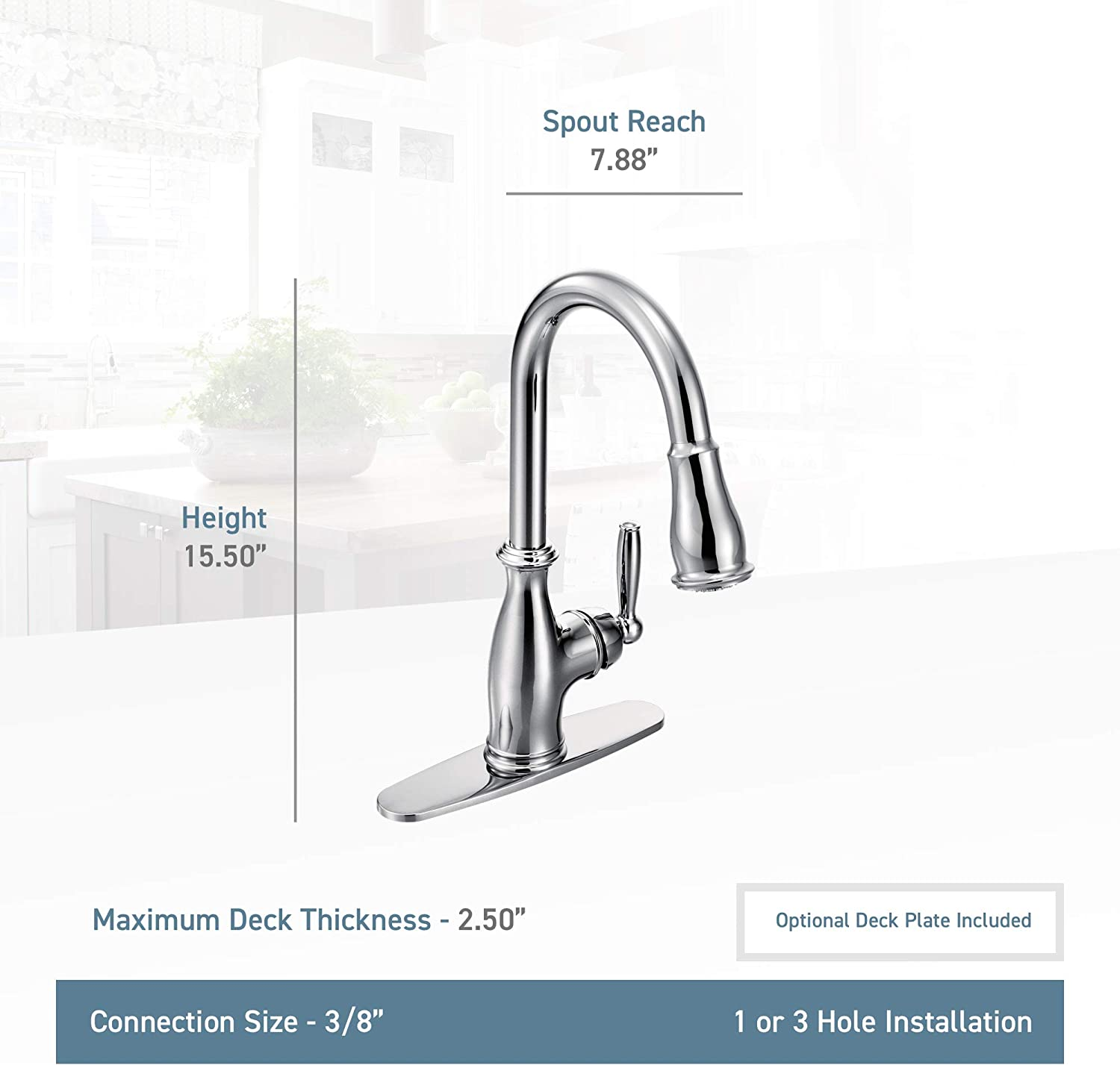 Moen 7185SRS Brantford One-Handle Pulldown Kitchen Faucet Featuring Power Boost and Reflex, Spot Resist Stainless - Bathroom Hardware -