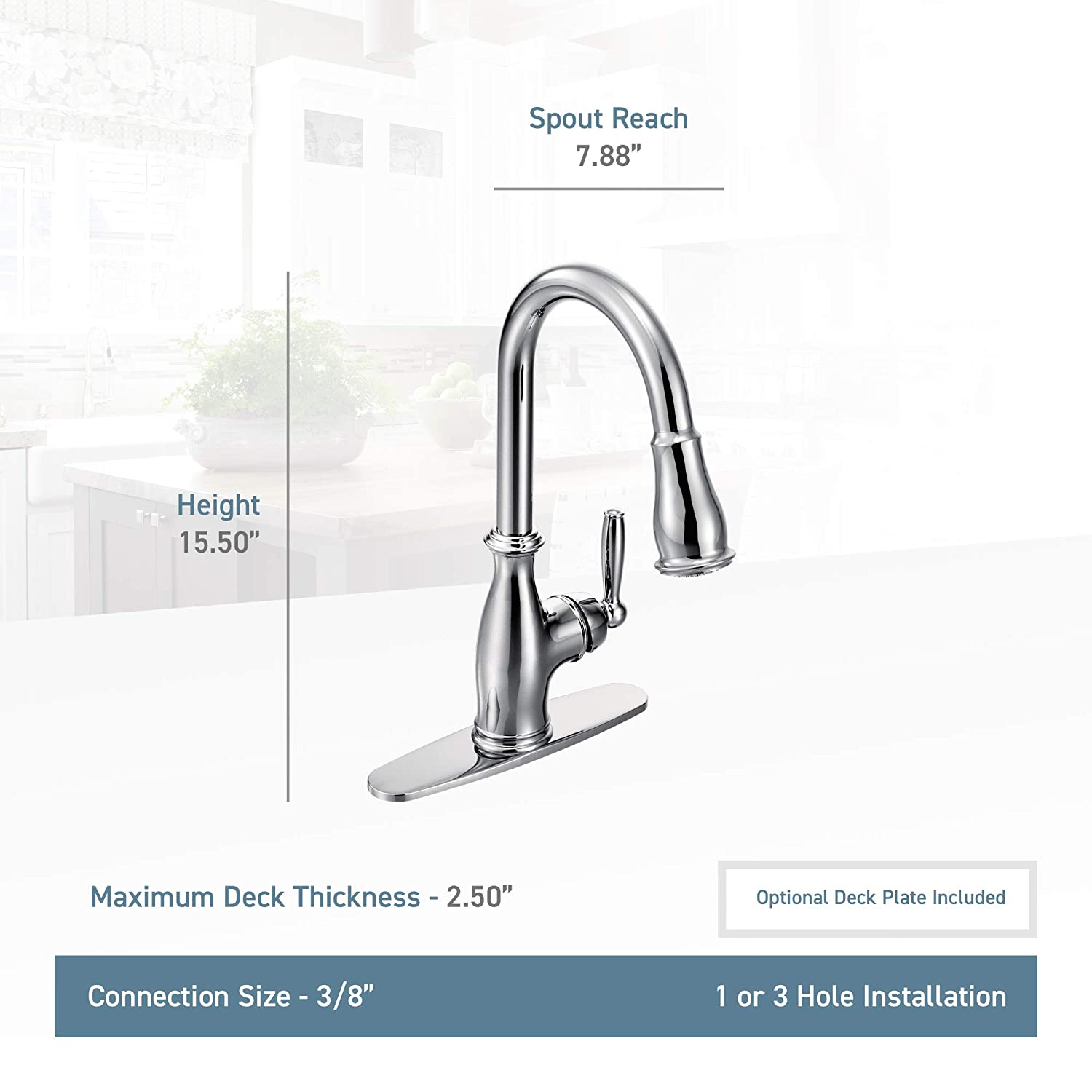 moen 7185c brantford one handle high arc pulldown kitchen faucet rh amazon com