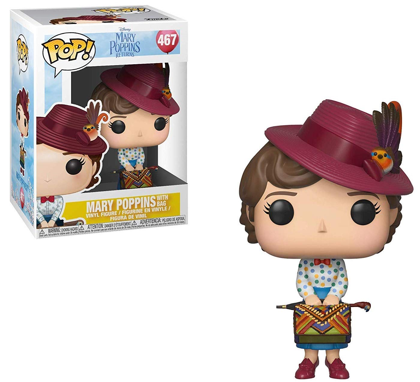 Mary Poppins with Bag Vinyl Figure Includes Pop Box Protector Case Disney: Mary Poppins Returns Funko Pop