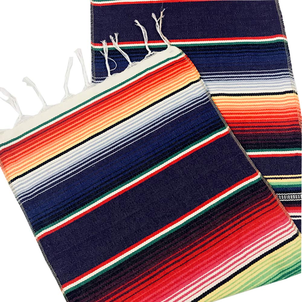 LGHome Mexican Blanket Serape Table Runner Colorful Striped Fringe Cotton Table Runner For Mexican Birthday Party Wedding Holiday Decorations Pack of 12-14x84