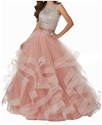 MJBridal Sparkle Beaded Bodice Tulle Ball Gown Prom Dress Two Piece Backless Evening Party Gowns