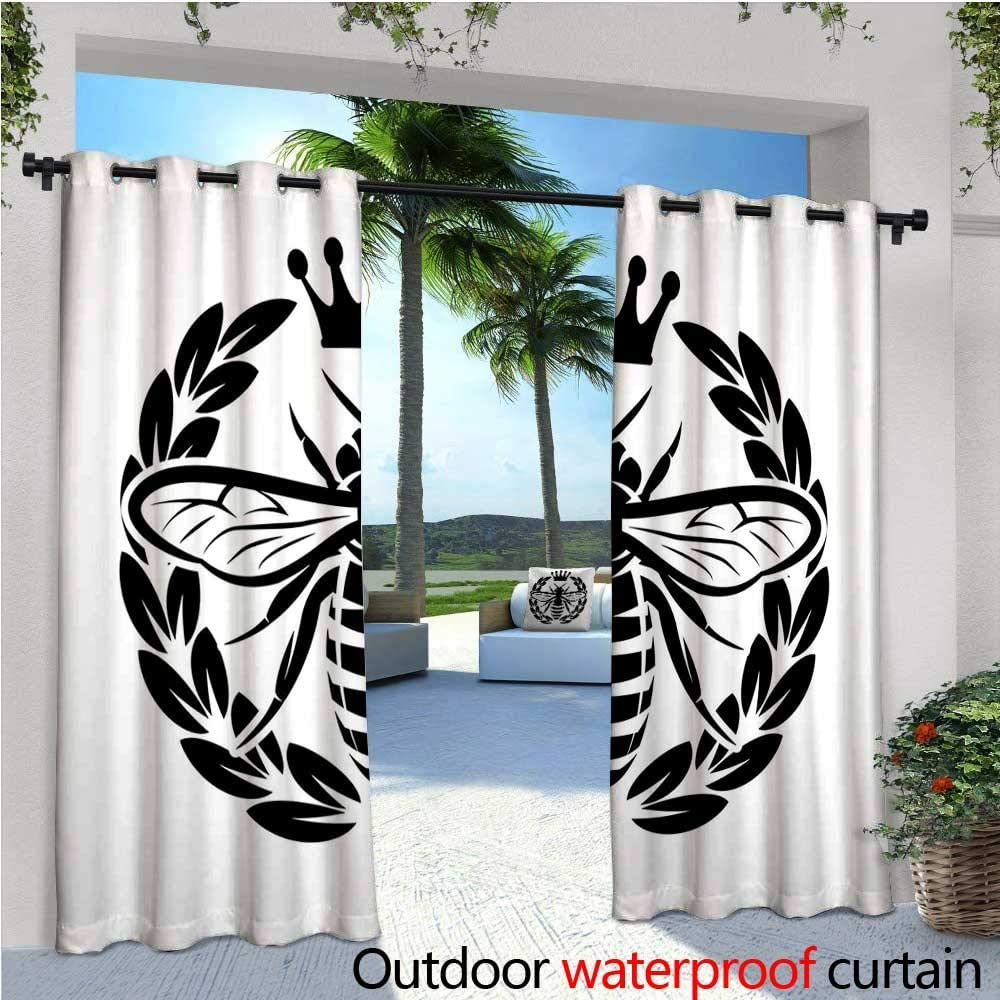 CobeDecor Queen Bee - Cortina de privacidad para exteriores con diseño de pérgola de Beehive con fondo de triángulos y dibujo estilo monocromo insectos, aislante térmico, repelente al agua para balcón, color