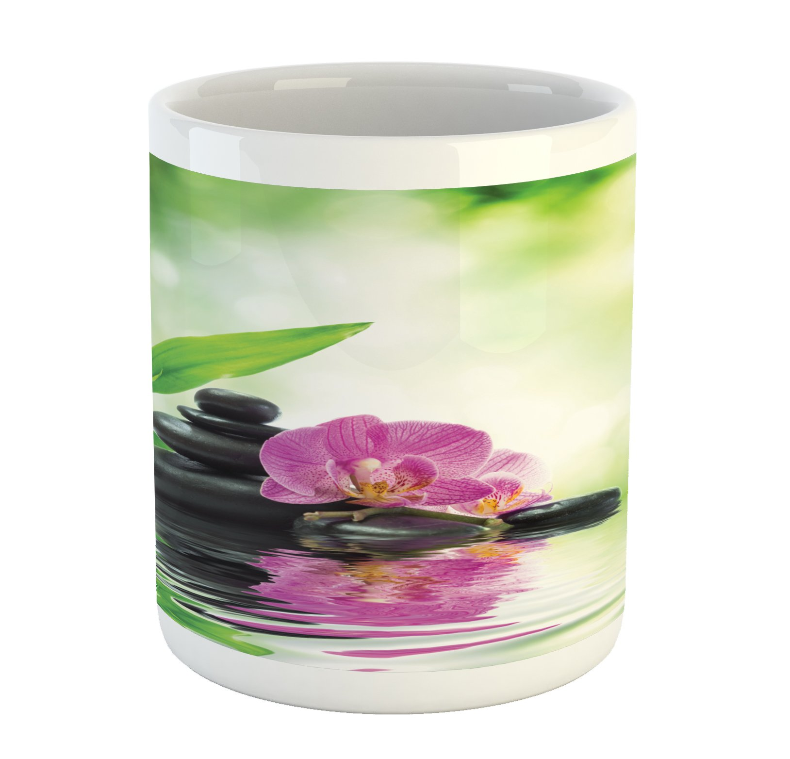 Ambesonne Spa Mug, Orchids and Rocks in the Mineral Rich Spring Water Spiritual Deep Treatment Cure, Printed Ceramic Coffee Mug Water Tea Drinks Cup, Green Black Pink