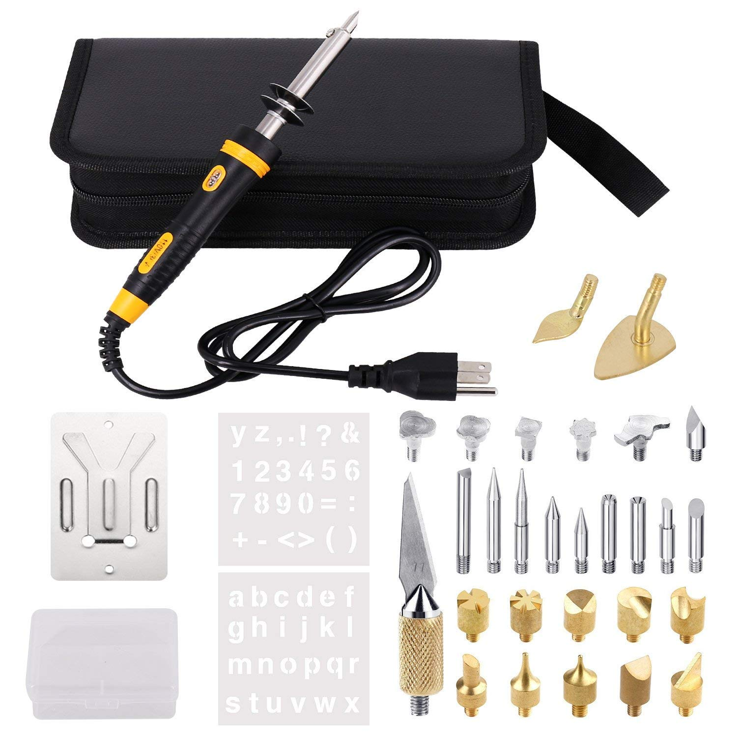 Full Set Wood Burning Kit, Wood Burning Kit with Various Wood Embossing/Carving/Soldering Tips +Stencil + Stand + Carrying Case