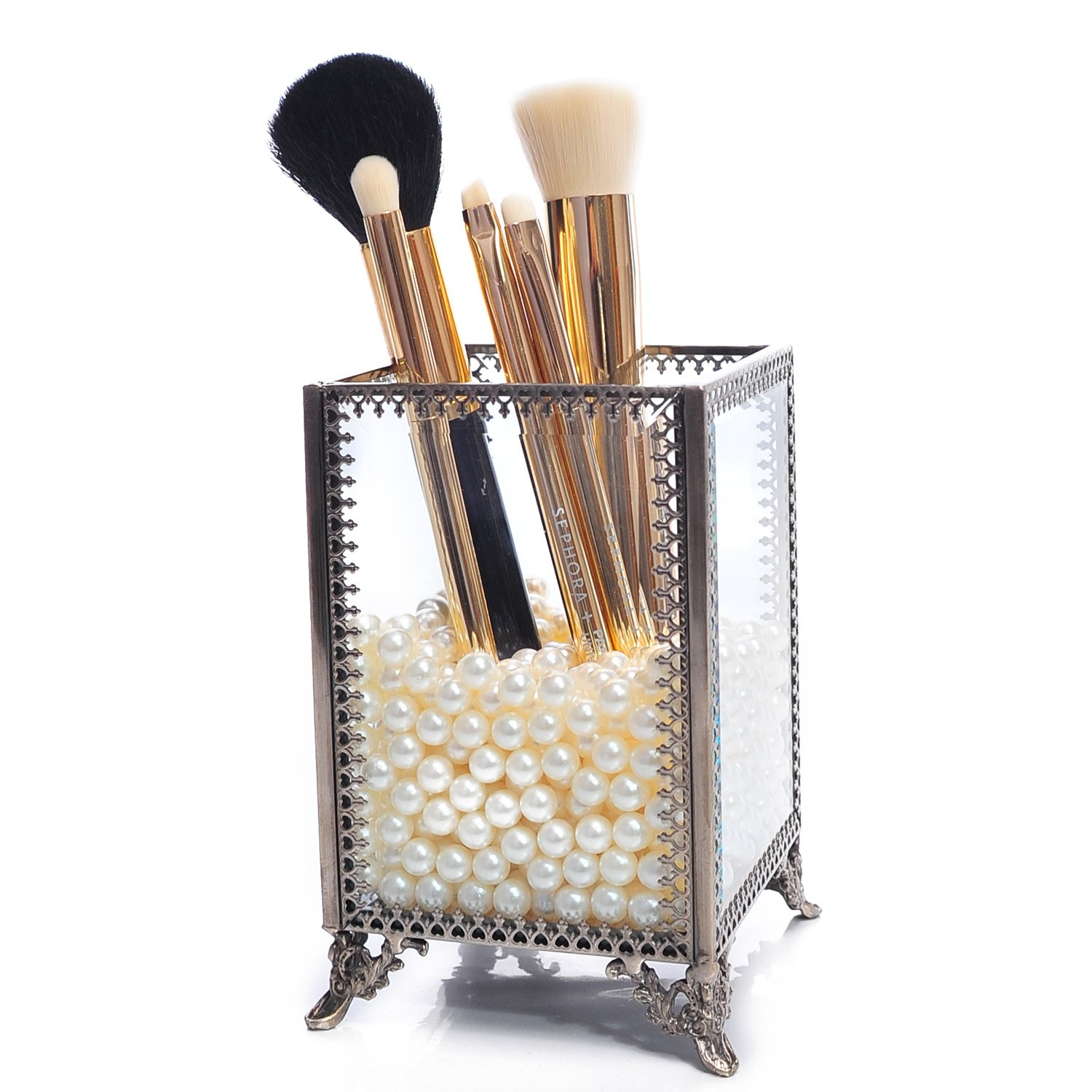 Large Mirror Glass Top Dresser Make Up Organizer Jewelry &Comestic Display, Stackable Cube 6 Drawers Set Dresser Storage for Vanity with Lid,Bathroom Accessories Brushes Container (Brushholder-small)