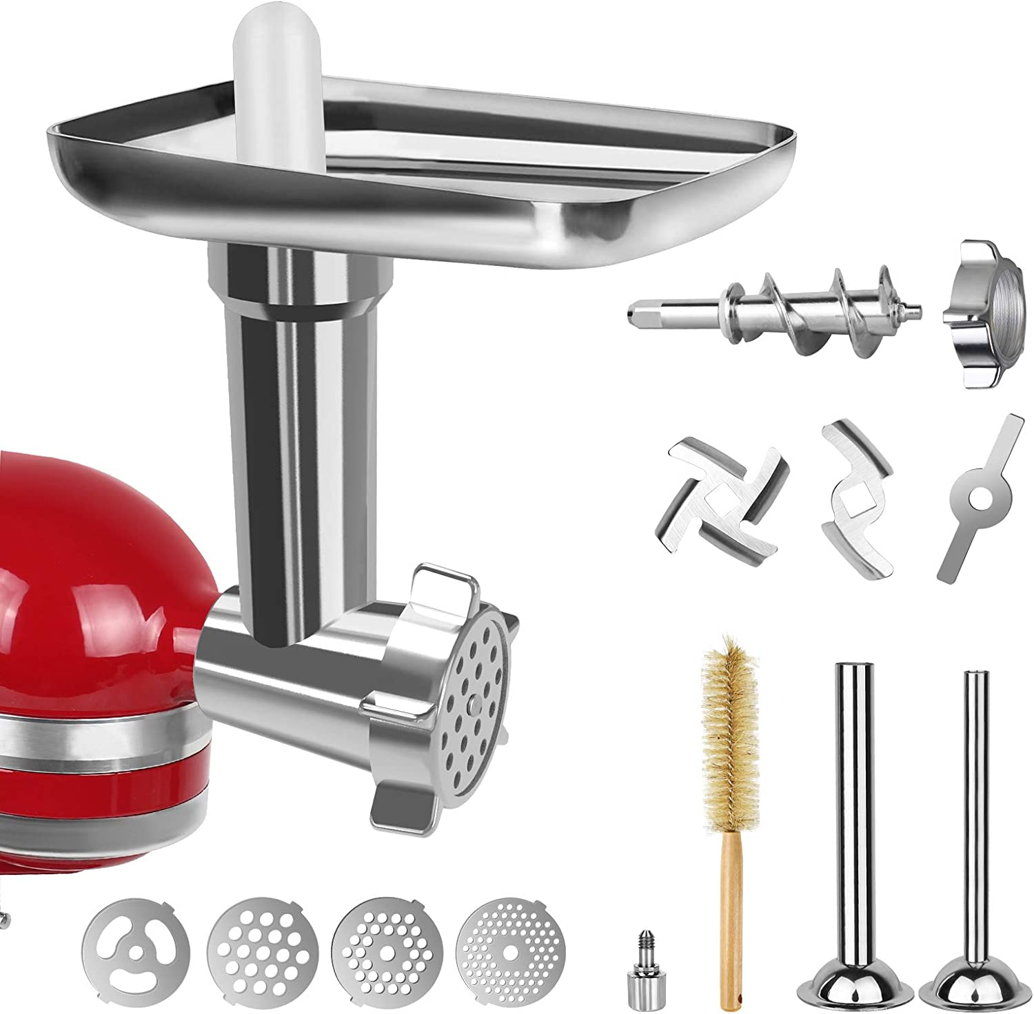 Borwakcr Metal Food Grinder Attachment for KitchenAid Stand Mixers, Includes Two Sausage Stuffer Tubes, Four Grinding Plates, Safe and Durable Meat Grinder Attachments, Perfect for KitchenAid Mixers