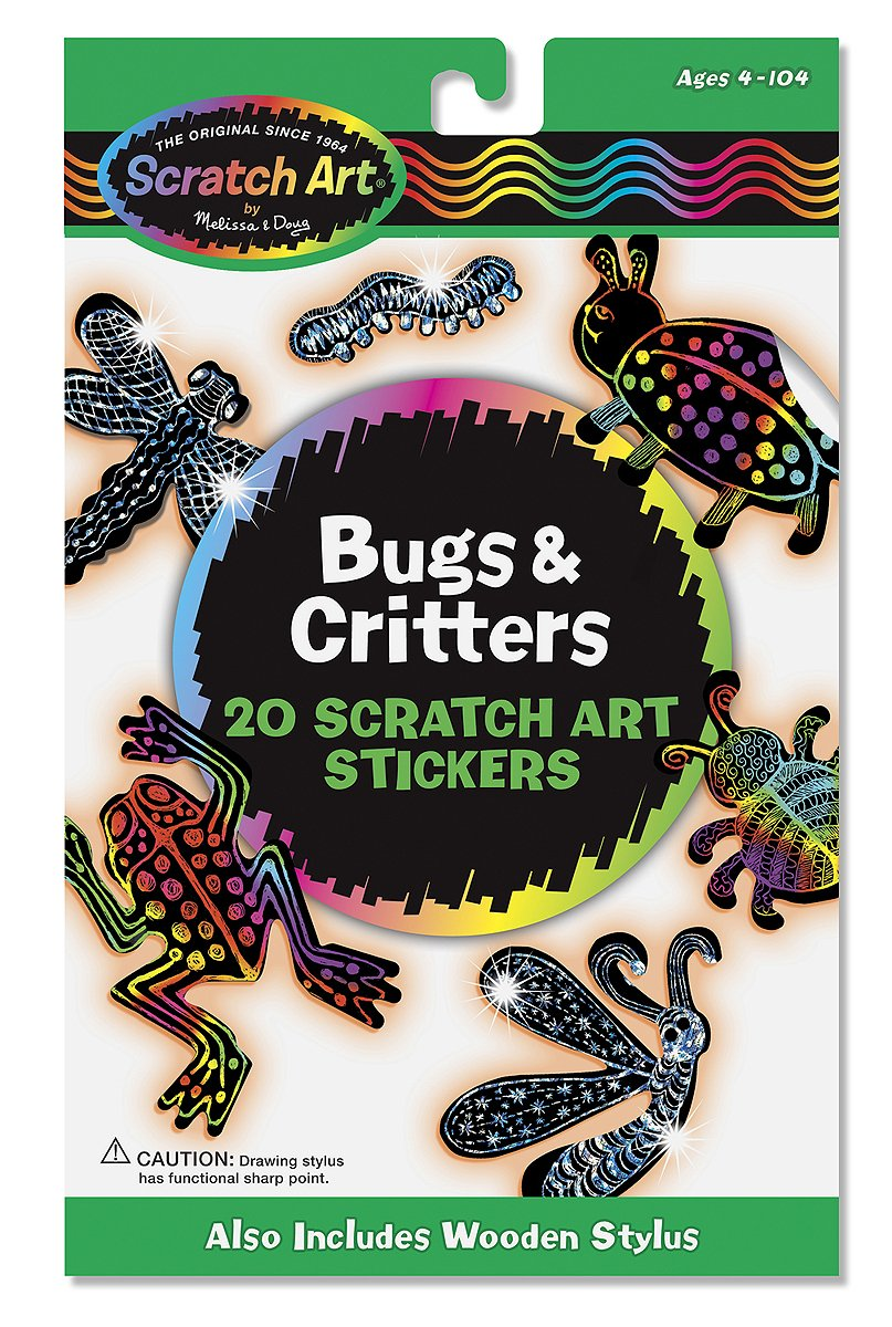 Scratch Art Stickers Pack FREE Melissa /& Doug Scratch Art Mini-Pad Bundle 58254 Bugs /& Critters