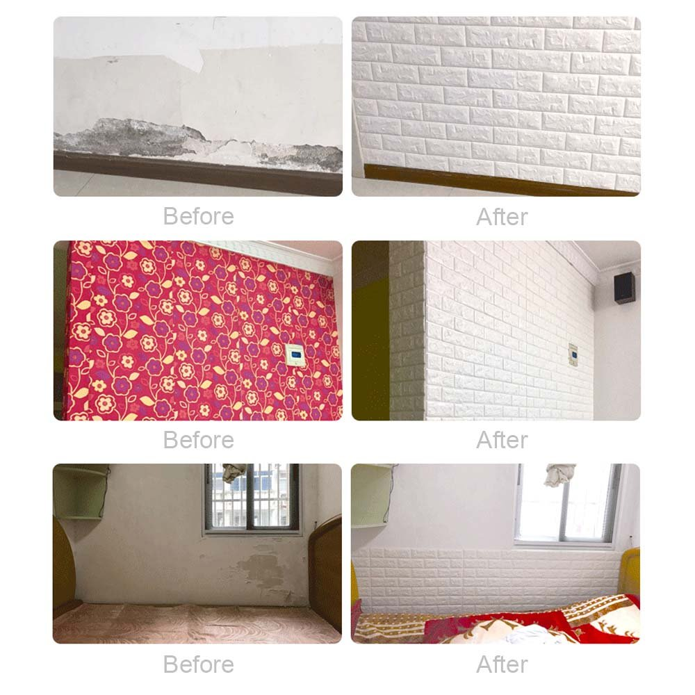 3D Brick Wall Stickers, FOME PE Foam 3D Brick Wall Tile Easy Self-Adhesive Design Wall Paper Wall Tile Stickers 3D Decorative Soft Panels for Kitchen/Bathroom/Living Room/Bedroom Decor 30.3x27.6 inch by FOME (Image #4)