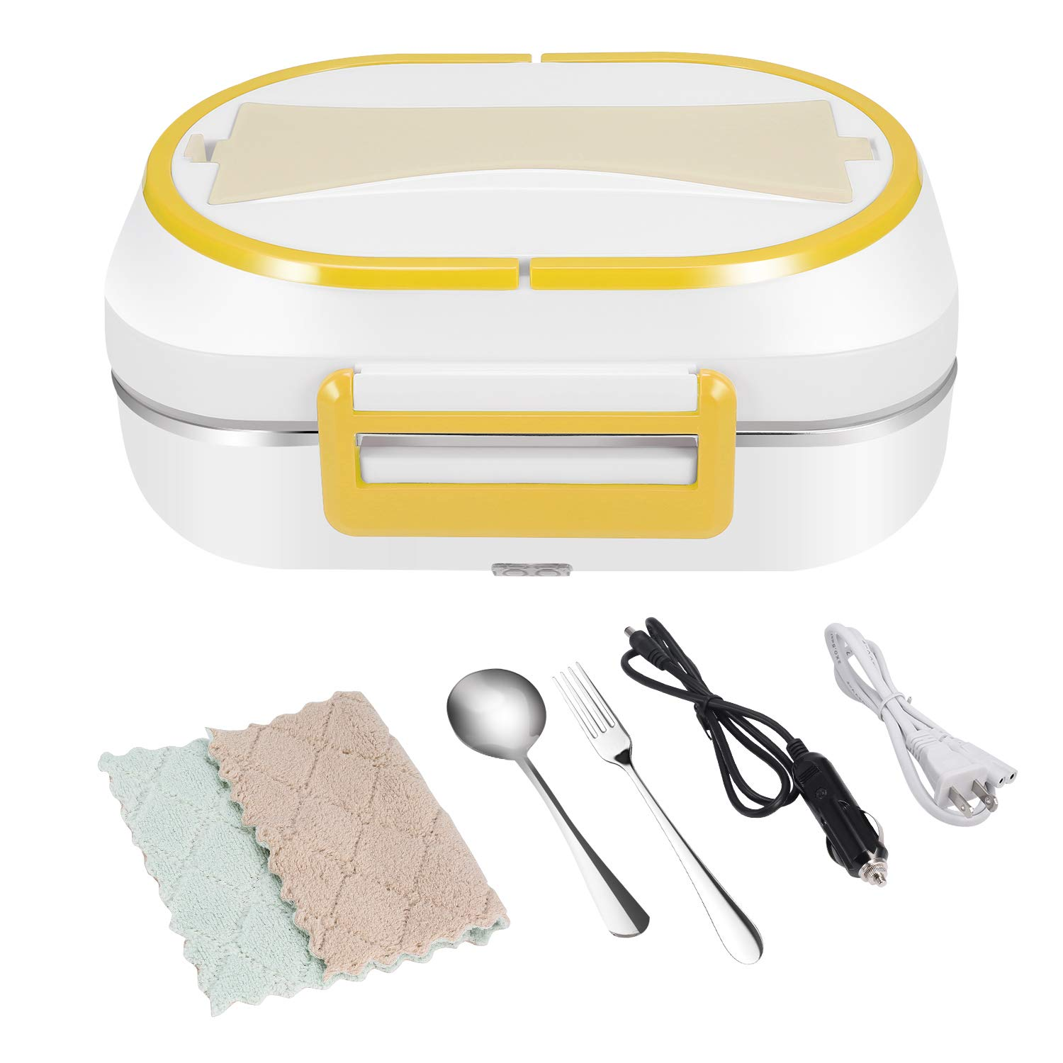 HAIFORD Electric Lunch Box Food Heater Portable Food Warmer Bento Box with Removable 304 Stainless Steel Container - Food Grade Material, Car and Home Dual Use (Yellow) by HAIFORD