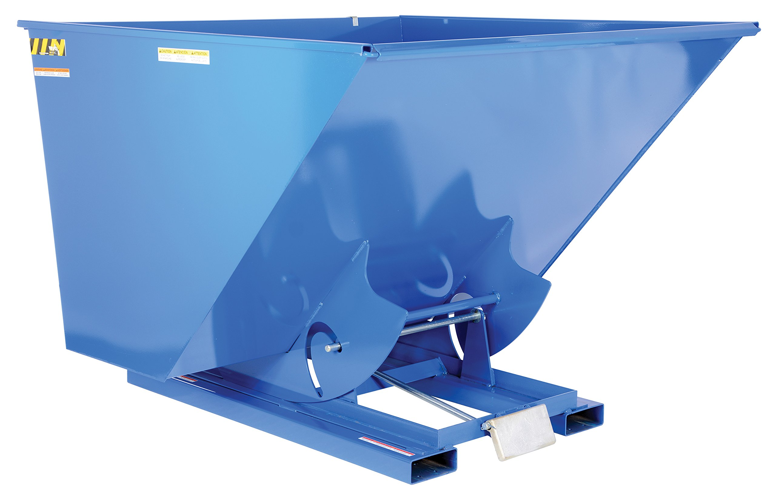 Vestil D-250-HD Heavy Duty Self-Dumping Hopper with Bumper Release, Steel, 6000 lb. Capacity, Overall L x W x H (in.) 68-3/8'' x 69-9/16'' x 51-3/4'', Blue by Vestil