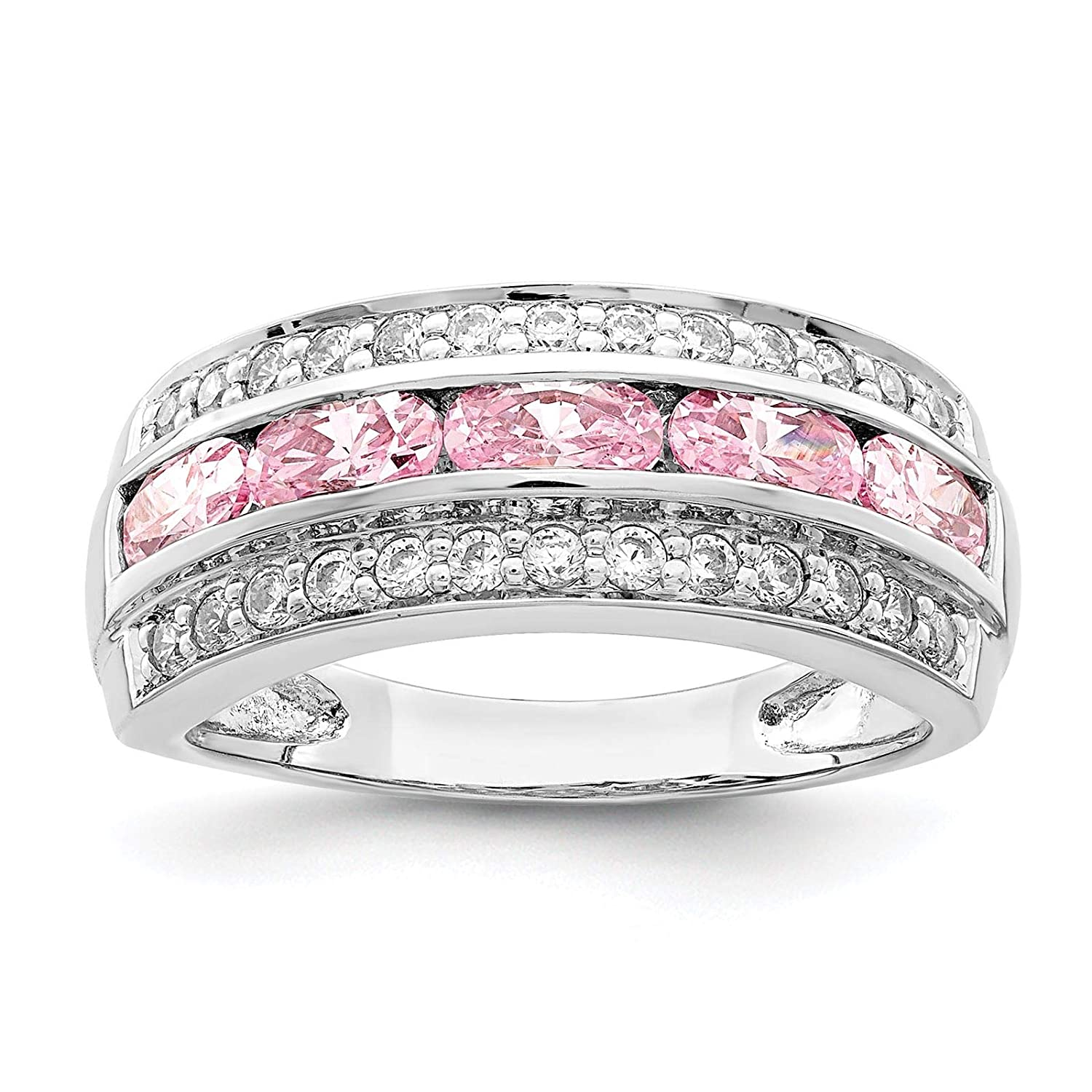 925 Sterling Silver Rhodium-plated 3-Row Pink /& White CZ Wedding Anniversary Ring Band Size 6-8