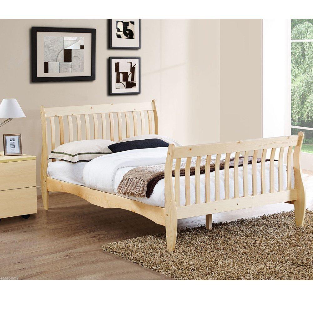 Amazon.de: Kiefer Double Schlitten Bett weiß oder natur 1, 40 Größe ...