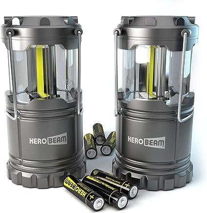2 x Farol de Camping LED HeroBeam® - Linterna de Camping ¡Tecnología COB LED – Lámpara Plegable con Imanes y Gancho para acampar - Iluminación genial ...