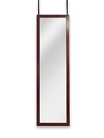 Mirrotek Over the Door Wall Mounted Full Length Door Dressing Mirror, Hardware Included, Cherry Finish