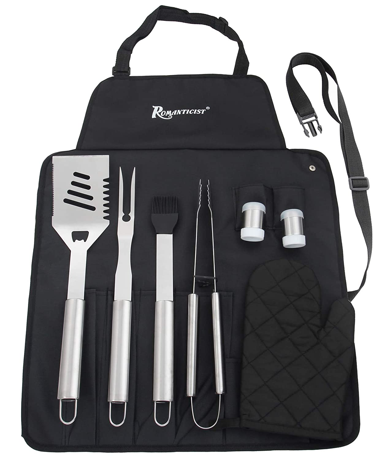 20 pcs Stainless Steel BBQ Grill Tool Set with Non-Slip Handle in Deluxe Aluminium Storage Carrying Case - Professional Barbecue Accessory with All-purpose Knife for Outdoor Activity - Gift Kit - ROMANTICIST XINGTAI XINGTAI-B9-A109