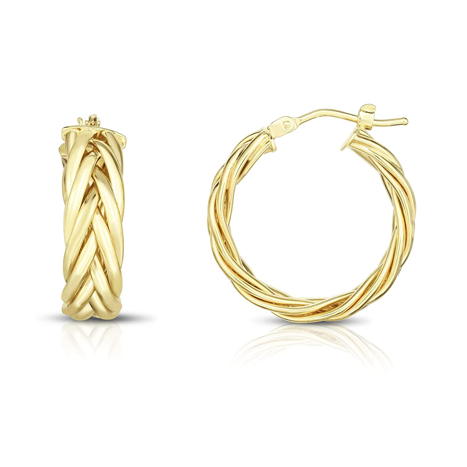 14K Yellow Gold Finish Shiny Round Hoop Fancy Earrings with Hinged by Icedtime