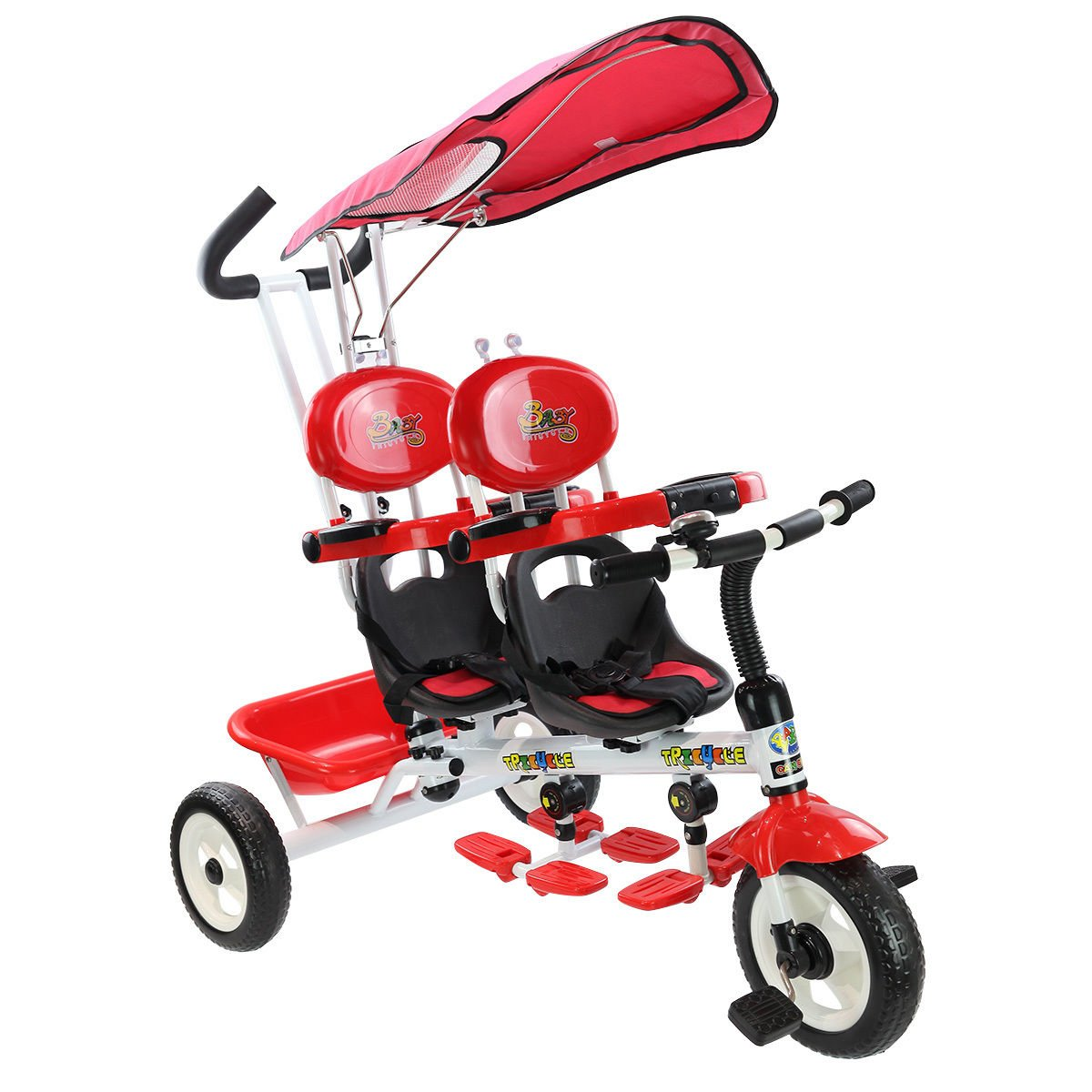 Costzon 4 in 1 Twins Kids Trike Baby Toddler Tricycle Safety Double Rotatable Seat w/Basket (Tandem Tricycle, Red)