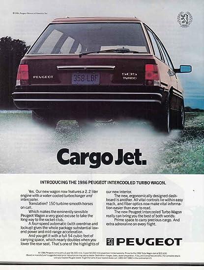 1986 Peugeot: Cargo Jet, Peugeot Print Ad